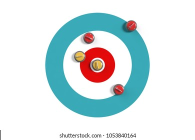 It is a very good example to explain the scoring rules of a curling game. 3d rendering