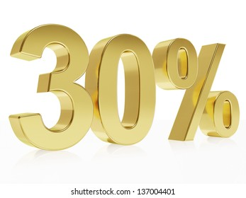 Very high quality rendering of a symbol for 30 % discount with a subtle reflection