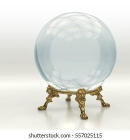 Representación 3D de alta resolución de una bola mágica de cristal