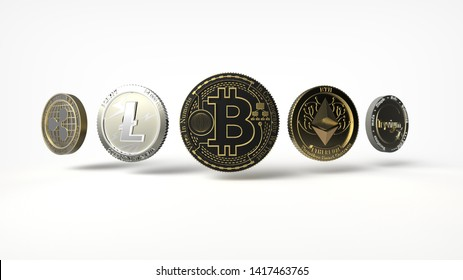 Very High Resolution Crypto currency background. 3D Illustration, 3D Rendering.
