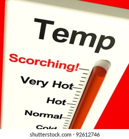 Very High Scorching Temperature Shown On A Big Thermostat