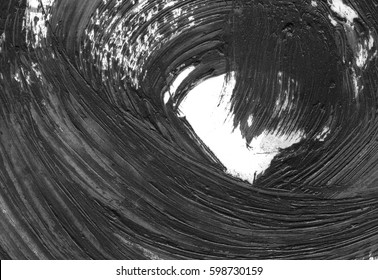 VERY HIGHT resolution. Abstract ink background. Marble style. Black and white paint stroke texture. Macro image of spackling paste. Smear of painterly plaster on paper.