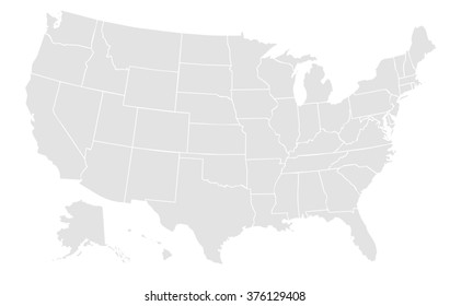 Royalty Free Stock Illustration of Light Grey Map United States