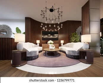 Very luxurious seating area in a modern hotel. White designer sofa with slats on the wall with a TV. Side table with lamp and a large chandelier. 3d rendering