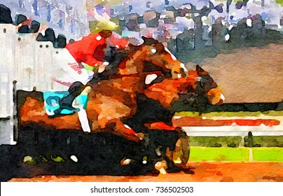 Very Nice Fun Watercolor painting of a horse race beginning