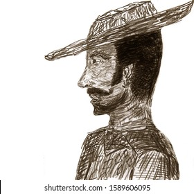 Very Nice sketch rendering Of a latino worker
