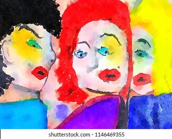 Very Nice Watercolor fun Image of 3 Girls Talking