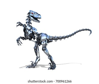 A very powerful RoboRaptor robot dinosaur - 3D render.