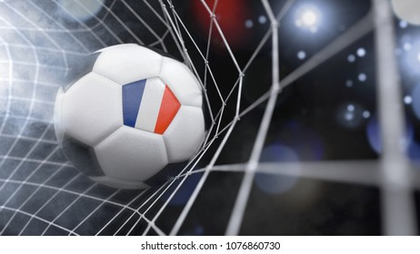 Very realistic rendering of a soccer ball with the flag of France in the net.(3D rendering)