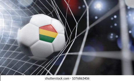 Very realistic rendering of a soccer ball with the flag of Bolivia in the net.(3D rendering)