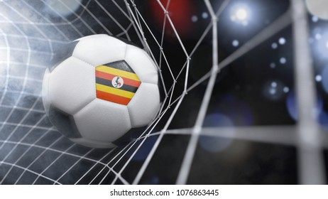 Very realistic rendering of a soccer ball with the flag of Uganda in the net.(3D rendering)