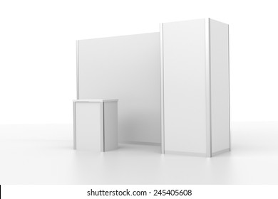 very simple white booth or stall