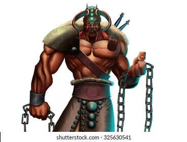 a very strong nordic warrior wearing a armor with some chains in his hand
