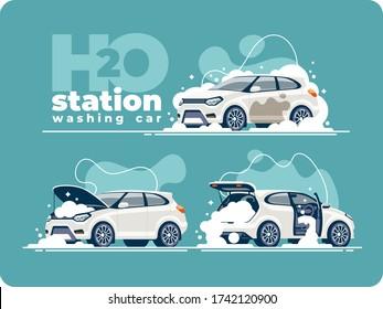 Sehr gründliche Waschen des Autos mit Schaum an der Waschstation. Reinigung der Fahrzeugkabine, Waschen des Motors und des Karosserieträgers. Der Verkehr ist auf allen Seiten sauber.
