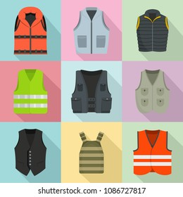 Vest waistcoat jacket suit icons set. Flat illustration of 9 vest waistcoat jacket suit icons for web