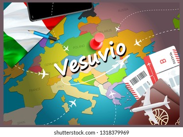 Vesuvio city travel and tourism destination concept. Italy flag and Vesuvio city on map. Italy travel concept map background. Tickets Planes and flights to Vesuvio holidays Italian vacation