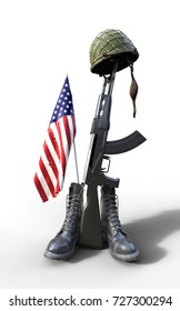 Veterans Day, Fallen soldier tribute, helmet, gun, boots and flag, 3d render, 3d illustration