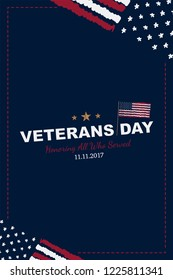 Veterans Day. Greeting card with USA flag on background. National American holiday event. Flat  illustration .