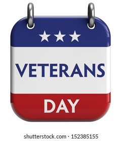 Veterans Day isolated calendar icon. Clipping path included for easy selection.