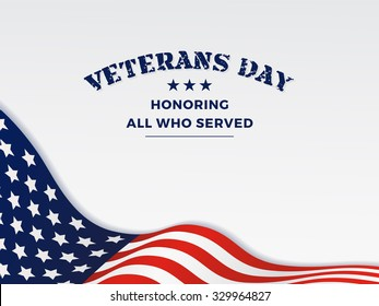 Veterans Day and White Background With Wavy USA Flag Design