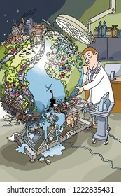 Veterinarian is pondering for a big globe on a research table. The earth is threatened by overpopulation, environmental pollution and germs. The earth breaks and leaks water.