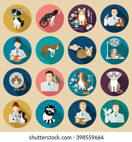 Veterinary icon flat set.  Vet clinic, pets and doctor isolated on background.