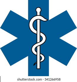 veterinary medical symbol illustration, caduceus snake with stick
