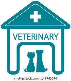 veterinary symbol with home clinic silhouette and pet - cat and dog