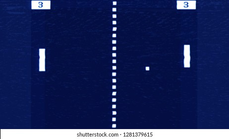 VHS tape screen capture: a simplified reproduction (mock-up) of an old videogame of two paddles throwing a ball, with numbers expressing the players' score. White elements on a blue background.