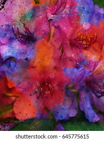 Vibrant abstract painting of rhododendrons