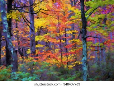 Vibrant Autumn trees with bright colorful leaves transformed into a painting