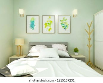 Vibrant bedroom, light green wall paint and inviting double bed, wardrobe, clothes rack and TV, the sun shines into the bedroom.3D rendering