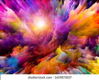 Vibrant Canvas series. Abstract background of thick colorful paint and light on the subject of creativity and art.