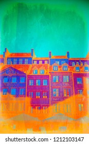 A vibrant digital abstract of buildings in Old Town Warsaw