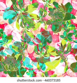 Vibrant floral pattern. Neon color blossom flowers illustration. Hand drawn vibrant flowers background.