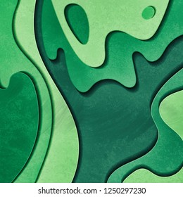 Vibrant green paper cut background. Abstract modern 3d origami paper art style