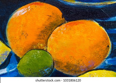 Vibrant multi-colored original oil painting close up detail showing brushwork and canvas textures - oranges