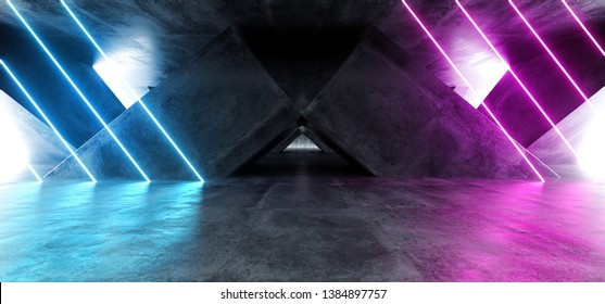 Vibrant Triangle Neon Background Glowing Purple Blue Pink Violet  Path Track Gate Entrance Sci Fi Futuristic Virtual Reality Dark Tunnel Concrete Grunge Reflective Laser Lights 3D Rendering