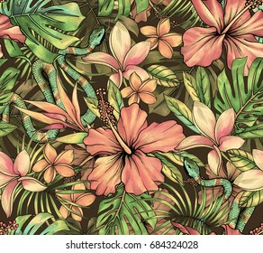 vibrant tropical pattern with exotic flowers, vipers snakes and amazing detailed botanical watercolor illustrations. seamless design.