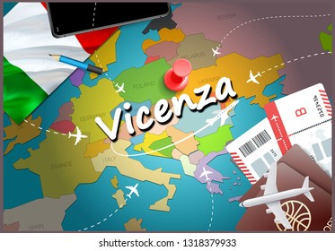 Vicenza city travel and tourism destination concept. Italy flag and Vicenza city on map. Italy travel concept map background. Tickets Planes and flights to Vicenza holidays Italian vacation