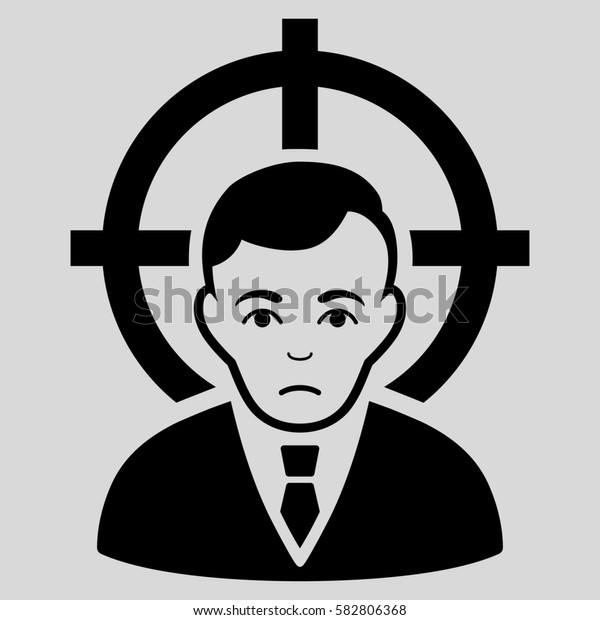 Victim Businessman glyph icon. Flat black symbol. Pictogram is isolated on a light gray background. Designed for web and software interfaces.