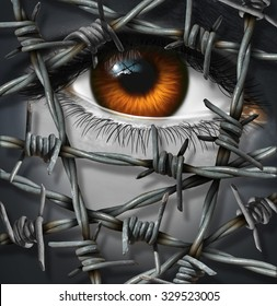 Victim concept and threat being kept out by barbed or barb wire as a security or psychological injury concept of suffering alone or refugee issues icon with a surreal human eye.