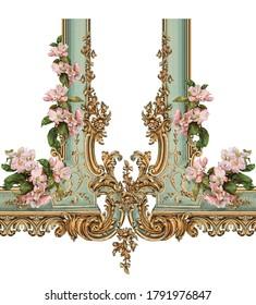 Victorian baroque golden floral illustration