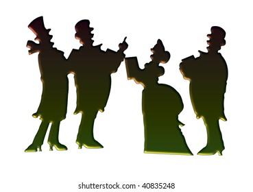 Victorian christmas carolers making a vintage card