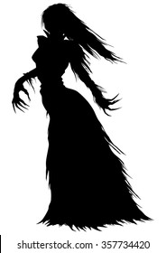 Victorian ghost or a vampire woman silhouette. Abstract woman with long hairs and curved fingers in a ball gown with ragged edges