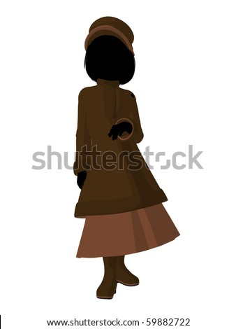 d4e61c4b213 Victorian Girl Silhouette On White Background Stock Illustration ...