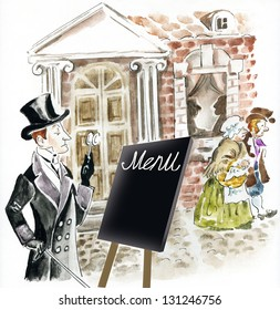 Victorian man standing on a city street and looking through old fashioned monocle at restaurant menu