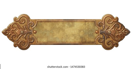 Victorian ornate frame with brass and copper motif 3D illustration