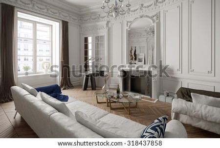 Victorian Style Living Room With Modern Furniture   3 D Render Using 3 D S  Max