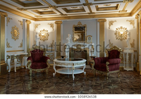 Victorian Style Living Room Modern Furniture Stock Illustration